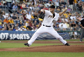 PITTSBURGH, PA - JULY 23:  Erik Bedard #45 of the Pittsburgh Pirates pitches against the Chicago Cubs during the game on July 23, 2012 at PNC Park in Pittsburgh, Pennsylvania.  (Photo by Justin K. Aller/Getty Images)