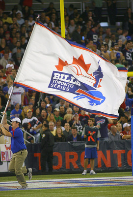 Nothing gets the crowd going quite like a Bills Toronto Series flag.