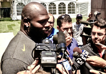 Newly signed 49er Leonard Davis meets with media. Courtesy of 49ers.com