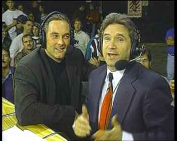 Perretti (left) was also a color commentator on some pivotal early MMA shows.