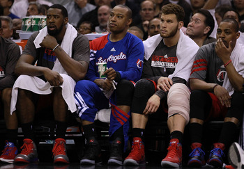 SAN ANTONIO, TX - MAY 17:  (L-R) Caron Butler #5 and Blake Griffin #32 of the Los Angeles Clippers sit on the bench in Game Two of the Western Conference Semifinals of the 2012 NBA Playoffs at AT&T Center on May 17, 2012 in San Antonio, Texas.  NOTE TO US