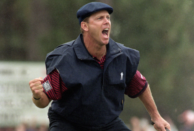 PINEHURST, NC - JUNE 19:  Payne Stewart celebrates after making a putt during the 1999 US Open at Pinehurst Golf Resort on June 19, 1999 in Pinehurst, North Carolina.  (Photo by Craig Jones/Getty Images)