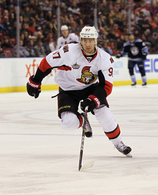 SUNRISE, FL - MARCH 04:  Matt Gilroy #97 of the Ottawa Senators skates against the Florida Panthers at the BankAtlantic Center on March 4, 2012 in Sunrise, Florida. The Panthers defeated the Senators 4-2.  (Photo by Bruce Bennett/Getty Images)