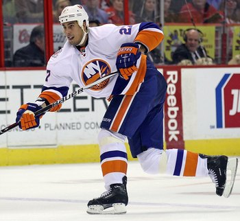 WASHINGTON, DC - FEBRUARY 28: Milan Jurcina #27 of the New York Islanders skates against the Washington Capitals at the Verizon Center on February 28, 2012 in Washington, DC.  (Photo by Bruce Bennett/Getty Images)