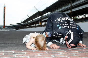 Jimmie Johnson got to kiss his bricks for the fourth time of his career