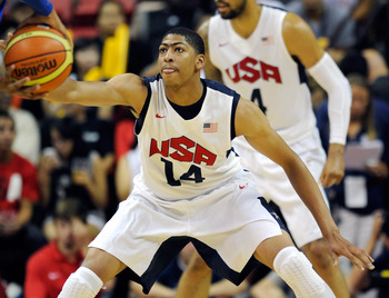 LAS VEGAS, NV - JULY 12:  Anthony Davis #14 of the US Men's Senior National Team defends against the Dominican Republic during a pre-Olympic exhibition game at Thomas & Mack Center on July 12, 2012 in Las Vegas, Nevada. Davis replaced Blake Griffin on the