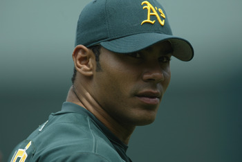Carlos Pena as a member of the Oakland Athletics