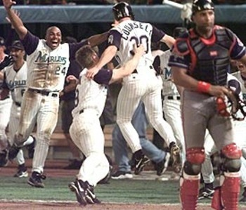 Florida Marlins Celebrate Walk-off hit to win Game 7 of the 1997 World Series