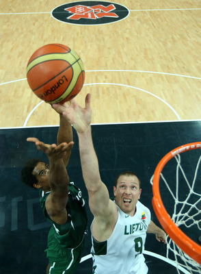 Nigeria struggled to keep Lithuania from getting to the basket.