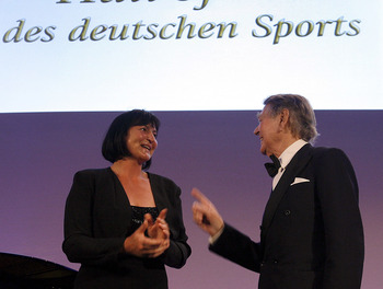 Birgit Fischer is honored in 2008.