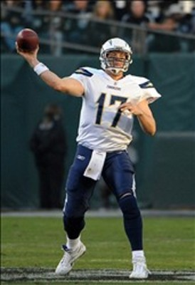 Jan 1, 2012, Oakland, CA, USA; San Diego Chargers quarterback Philip Rivers (17) throws a 43-yard touchdown pass to Malcom Floyd (not pictured) in the fourth quarter against the Oakland Raiders at the O.co Coliseum. The Chargers defeated the Raiders 38-26