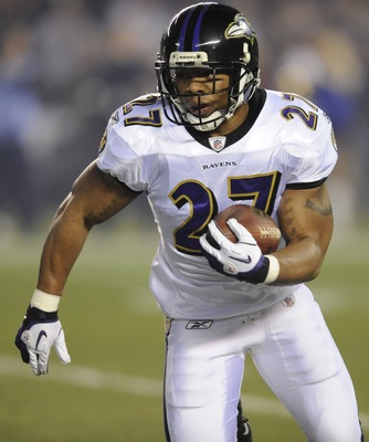 December 18, 2011; San Diego, CA, USA; Baltimore Ravens running back Ray Rice (27) runs for a short gain during the first quarter against the San Diego Chargers at Qualcomm Stadium. Mandatory Credit: Christopher Hanewinckel-US PRESSWIRE