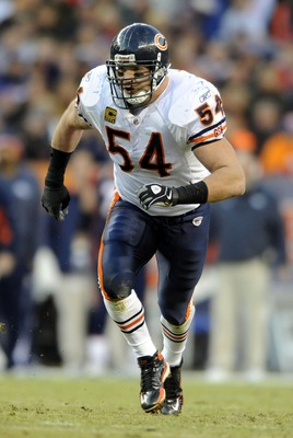 Dec 11, 2011; Denver, CO, USA; Chicago Bears middle linebacker Brian Urlacher (54) runs upfield during the third quarter of the game against the Denver Broncos at Sports Authority Field. The Broncos defeated the Bears 13-10. Mandatory Credit: Ron Chenoy-U