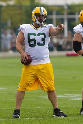 July 26, 2012; Green Bay, WI, USA; Green Bay Packers center Jeff Saturday (63) gestures during training camp practice at Ray Nitschke Field in Green Bay, WI. Mandatory Credit: Jeff Hanisch-US PRESSWIRE