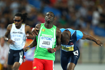 Kirani James, center, and LaShawn Merritt.