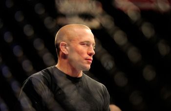 Oct. 29, 2011; Las Vegas, NV, USA; UFC fighter Georges St-Pierre at UFC 137 at the Mandalay Bay event center. Mandatory Credit: Mark J. Rebilas-US PRESSWIRE