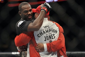Apr 21, 2012; Atlanta, GA, USA; Jon Jones reacts to beating Rashad Evans in the main event and light heavyweight title bout during UFC 145 at Philips Arena. Jon Jones won the bout by unanimous decision. Mandatory Credit: Paul Abell-US PRESSWIRE