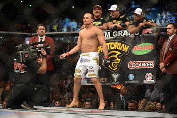 May 26, 2012; Las Vegas, NV, USA; Junior Dos Santos before the start of the match against Frank Mir (not pictured) during UFC 146 at the MGM Grand Garden event center. Mandatory Credit: Ron Chenoy-US PRESSWIRE
