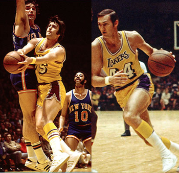 Gail Goodrich (left) and Jerry West in their Laker uniforms.