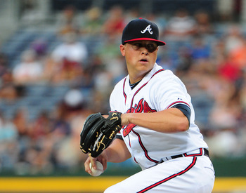 ATLANTA, GA - JULY 31: Kris Medlen #54 of the Atlanta Braves pitches against the Miami Marlins at Turner Field on July 31, 2012 in Atlanta, Georgia. (Photo by Scott Cunningham/Getty Images)
