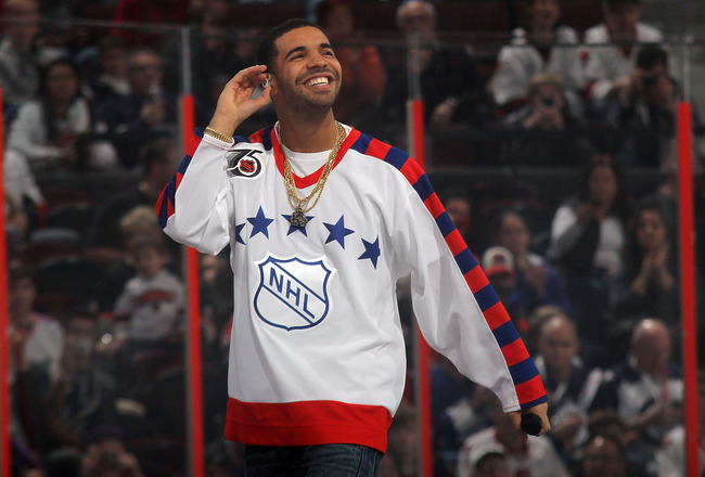 OTTAWA, ON - JANUARY 29:  Rap artist Drake performs during the 2012 Tim Hortons NHL All-Star Game between Team Alfredsson and Team Chara at Scotiabank Place on January 29, 2012 in Ottawa, Ontario, Canada.  (Photo by Bruce Bennett/Getty Images)