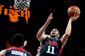 LONDON, ENGLAND - JULY 31:  Kevin Love #11 of United States goes up for a shot against Tunisia during the Men's Basketball Preliminary Round match on Day 4 of the London 2012 Olympic Games at Basketball Arena on July 31, 2012 in London, England.  (Photo b