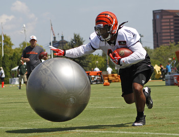 Jul 27, 2012; Cincinnati, OH, USA; Cincinnati Bengals running back BenJarvus Green-Ellis (42) works out during training camp at Paul Brown Stadium. Mandatory Credit: Frank Victores-US PRESSWIRE