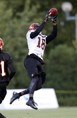 Jul 28, 2012; Cincinnati, OH, USA; Cincinnati Bengals wide receiver A.J. Green (18) catches a pass during training camp at Paul Brown Stadium. Mandatory Credit: Frank Victores-US PRESSWIRE