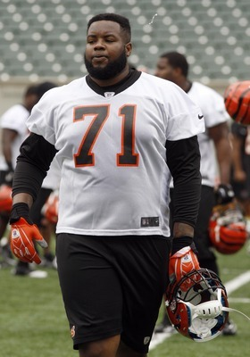 May 22, 2012; Cincinnati, OH USA; Cincinnati Bengals offensive tackle Andre Smith (71) during organized team activities at Paul Brown Stadium. Mandatory Credit: David Kohl-US PRESSWIRE
