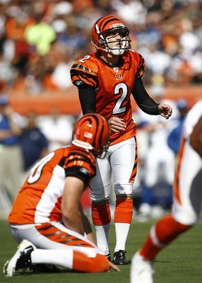 Oct 16, 2011; Cincinnati, OH, USA; Cincinnati Bengals kicker Mike Nugent (2) prepares to kick during the game against the Indianapolis Colts at Paul Brown Stadium. The Bengals defeated the Colts 27-17. Mandatory Credit: Frank Victores-US PRESSWIRE