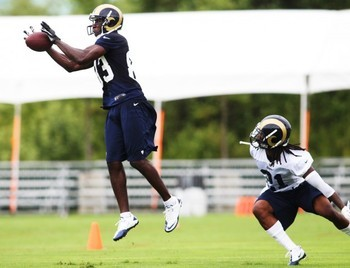 Wide Receiver Brian Quick (83) during Rams rookie practice Thursday, July 26, 2012, at Rams Park in Earth City. Photo by Laurie Skrivan.