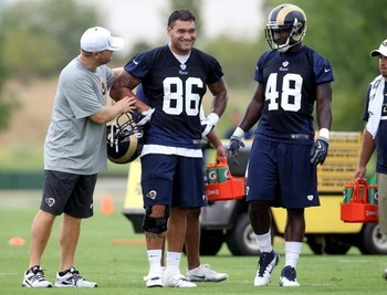 Michael Hoomanawanui (86) laughs during rookie practice Thursday, July 26, 2012, at Rams Park in Earth City. Photo by Laurie Skrivan.