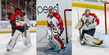 Jose Theodore (left), Jacob Markstrom (centre) and Scott Clemmensen (right) will all have a major role to play in net for the Florida Panthers to succeed.