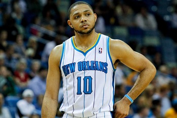 April 4, 2012; New Orleans, LA, USA; New Orleans Hornets shooting guard Eric Gordon (10) during a game against the Denver Nuggets at the New Orleans Arena.   Mandatory Credit: Derick E. Hingle-US PRESSWIRE