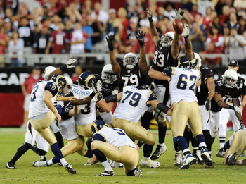 Calais Campbell (93) blocks a Josh Brown field goal.