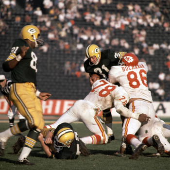 Packers' fullback Jim Taylor (31) ran for 56 yards and a touchdown in Super Bowl I vs. the Chiefs