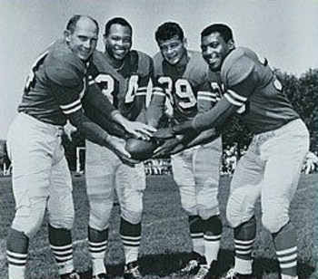"Hugh McElhenny (39) was part of the 49ers' fabled ""Million Dollar Backfield"""
