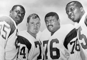 "Merlin Olsen (74) and the rest of the Rams' ""Fearsome Foursome"" Photo credit: usatoday.com"