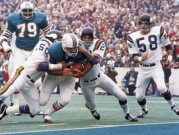 Dolphins' running back Larry Csonka ran over the Vikings in Super Bowl VIII Photo credit: sportsthenandnow.com
