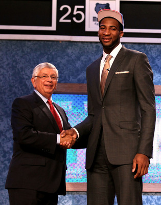 NEWARK, NJ - JUNE 28:  Andre Drummond (R) of the Connecticut Huskies greets NBA Commissioner David Stern (L) after he was selected number nine overall by the Detroit Pistons during the first round of the 2012 NBA Draft at Prudential Center on June 28, 201