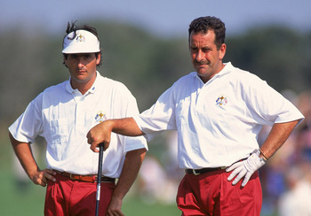David Feherty (L), Sam Torrance (R) at 1991 Ryder Cup
