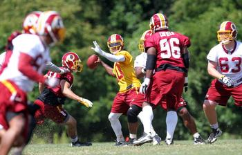 RGIII's quick release should help him to avoid sacks. Redskins.com/Ned Dishman