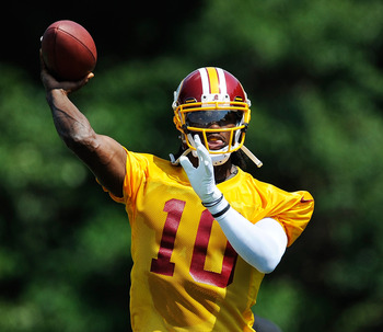 RGIII (pictured) is still a rookie in a difficult division