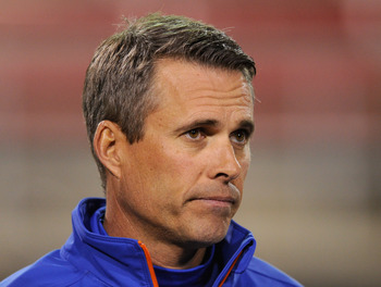 LAS VEGAS, NV - NOVEMBER 05:  Head coach Chris Petersen of the Boise State Broncos appears on the field before his team's game against the UNLV Rebels at Sam Boyd Stadium November 5, 2011 in Las Vegas, Nevada. Boise State won 48-21.  (Photo by Ethan Mille