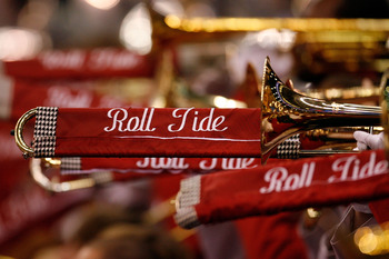 NEW ORLEANS - JANUARY 02:  A detailed picture of the 'Roll Tide' on the instruments of the Alabama Crimson Tide band before the Crimson Tide football team takes on the Utah Utes during the 75th Allstate Sugar Bowl at the Louisiana Superdome on January 2,