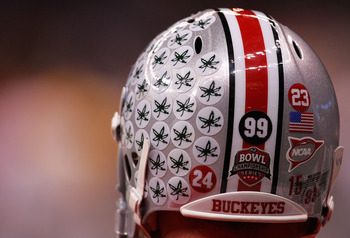 NEW ORLEANS - JANUARY 07:  Detail of Buckeye stickers on the helmet of a Ohio State Buckeyes athlete before the AllState BCS National Championship against the Louisiana State University Tigers on January 7, 2008 at the Louisiana Superdome in New Orleans,