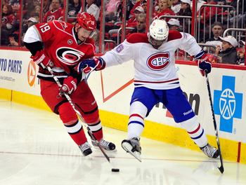 P.K. Subban (right) and Jiri Tlusty of the Carolina Hurricanes.