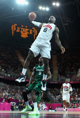 LONDON, ENGLAND - AUGUST 02:  Lebron James #6 of United States shoots against Nigeria in the first half during the Men's Basketball Preliminary Round match on Day 6 of the London 2012 Olympic Games at Basketball Arena on August 2, 2012 in London, England.