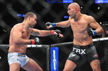 August 4, 2012; Los Angeles, CA, USA; Shogun Rua hits Brandon Vera during the light heavyweight match at Staples Center. Mandatory Credit: Gary A. Vasquez-US PRESSWIRE