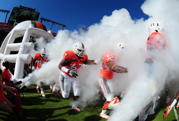 MIAMI GARDENS, FL - OCTOBER 22: Members of the Miami Hurricanes take the field before the game against the Georgia Tech Yellow Jackets at Sun Life Stadium on October 22, 2011 in Miami Gardens, Florida. Photo by Scott Cunningham/Getty Images)